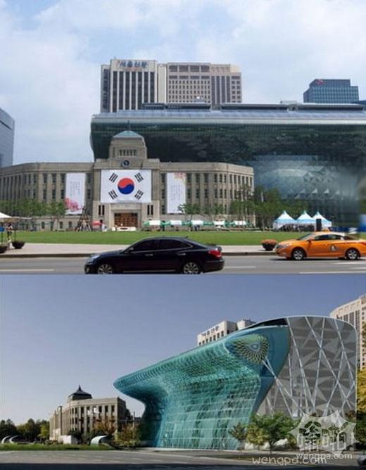 在韩国这个新的建筑,形如海啸。