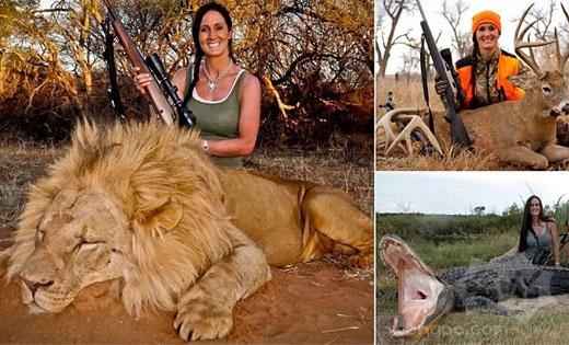 """自封的""""铁杆女猎人""""在Twitter发布自己枪杀雄狮的照片,数以千计禁止她来自南非"""