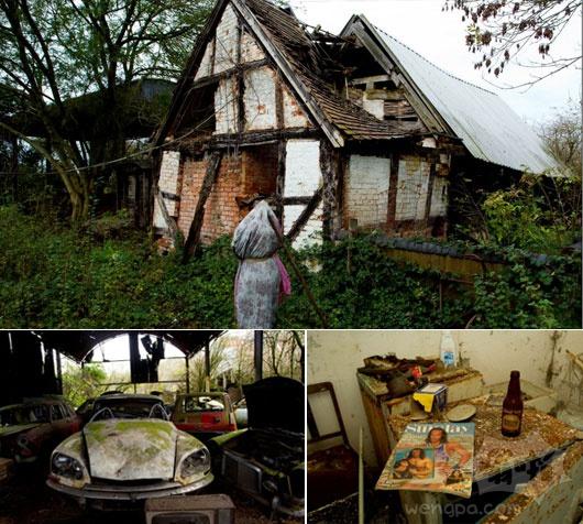 在房子里面,时间静止:怪异的残余的20年前神秘的农舍被废弃