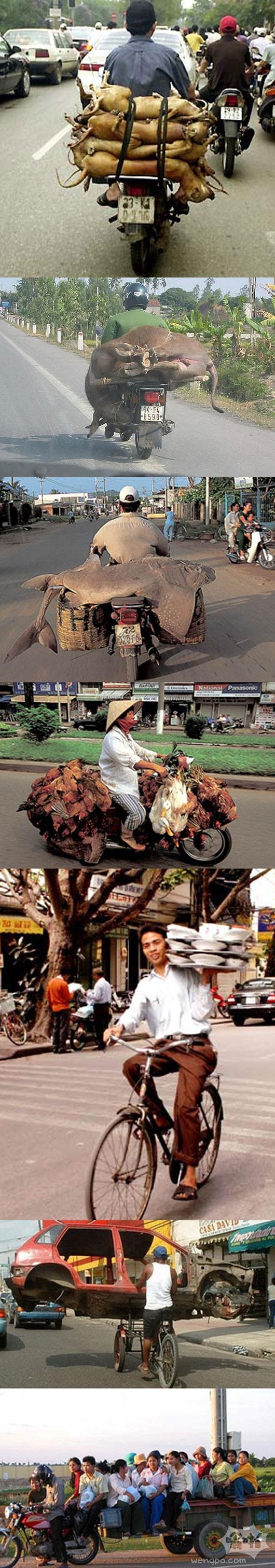 高手在民间 越南街头摩托车装的各种奇葩货物