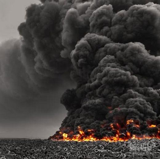 见过500万条轮胎烧了一堆吗?