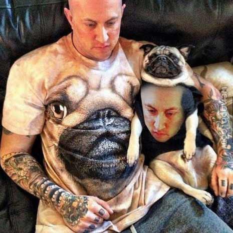 哥们的哈巴狗t恤和哈巴狗身上有哥们照片的t恤