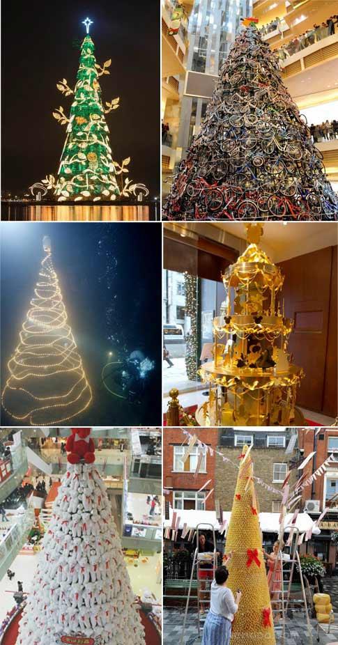 """史上最""""奇葩""""圣诞树 土豪金PK烂塑料"""
