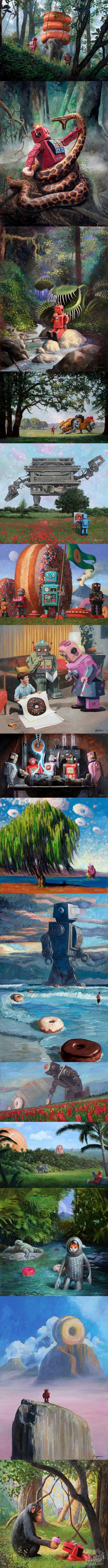 这画家画奇怪的迷人情景通常设有机器人和甜甜圈。