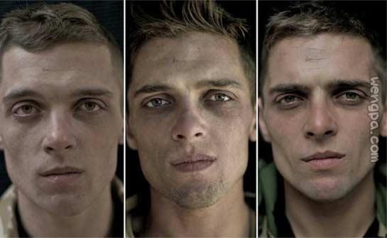 组图:士兵画像,分别为战争前、中、后