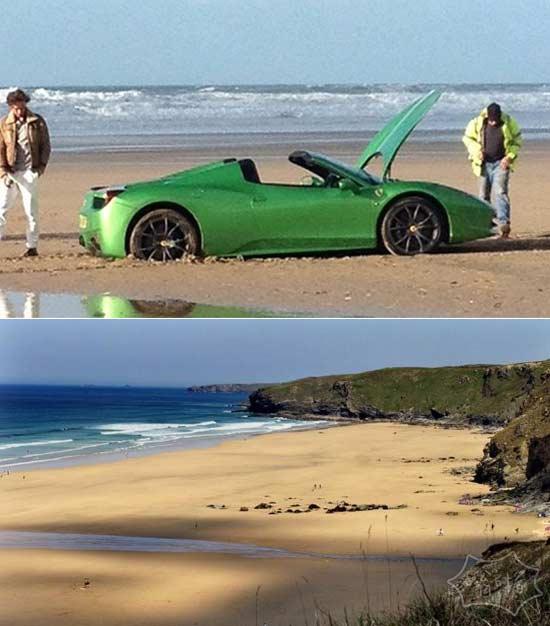 二货土豪开法拉利去了海边兜风后。。