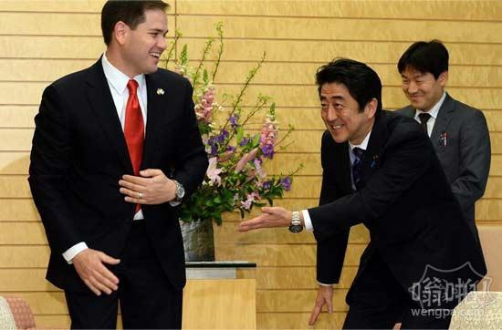 日本首相安倍晋三会晤美国参议员卢比奥(Marco Rubio)。。