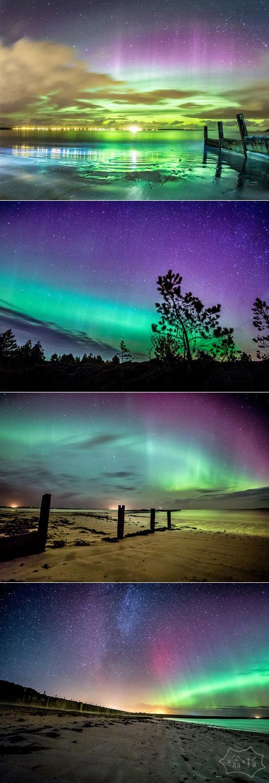 在苏格兰岛叹为观止的北极光照片