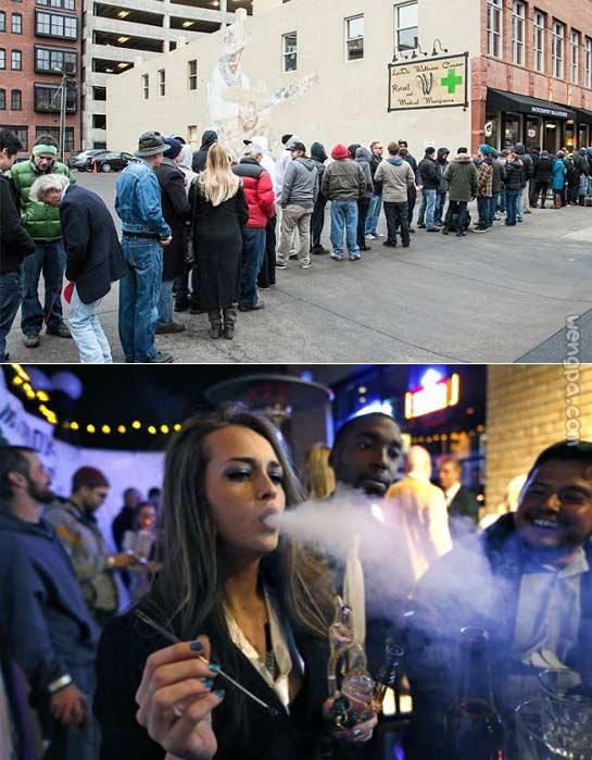 美科罗拉多州大麻合法化 瘾君子排队购买(图)