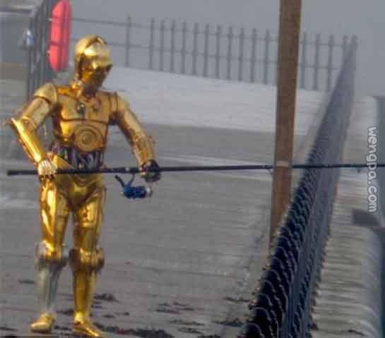 码头边看到一机器人?在钓鱼