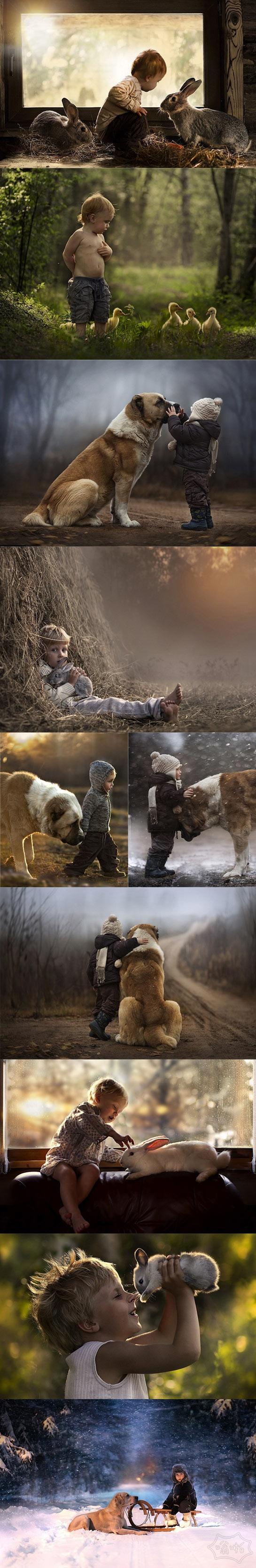俄罗斯妈妈收到第一个专业相机后捕捉到了她儿子与狗、鸭子、兔子的温情时刻。