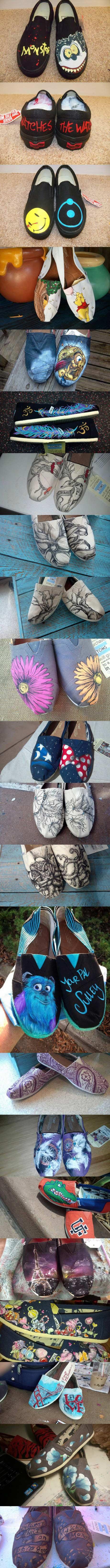 我妹妹的手绘鞋,有时候我觉得她还是很有才的
