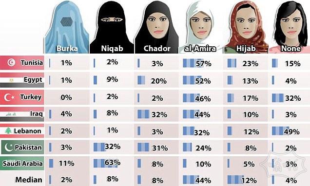 不同的穆斯林国家女性应该如何打扮…与绝大多数说她们不应该掩盖自己的脸