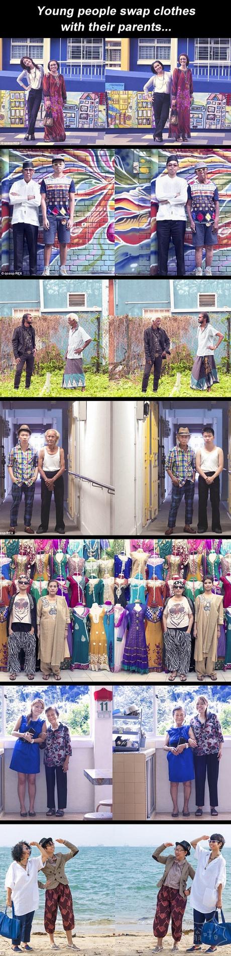 和父母互换衣服会是什么样的感觉,一组有趣照片。