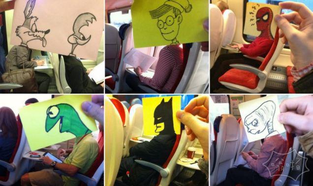 一张纸片让乘客变身漫画角色