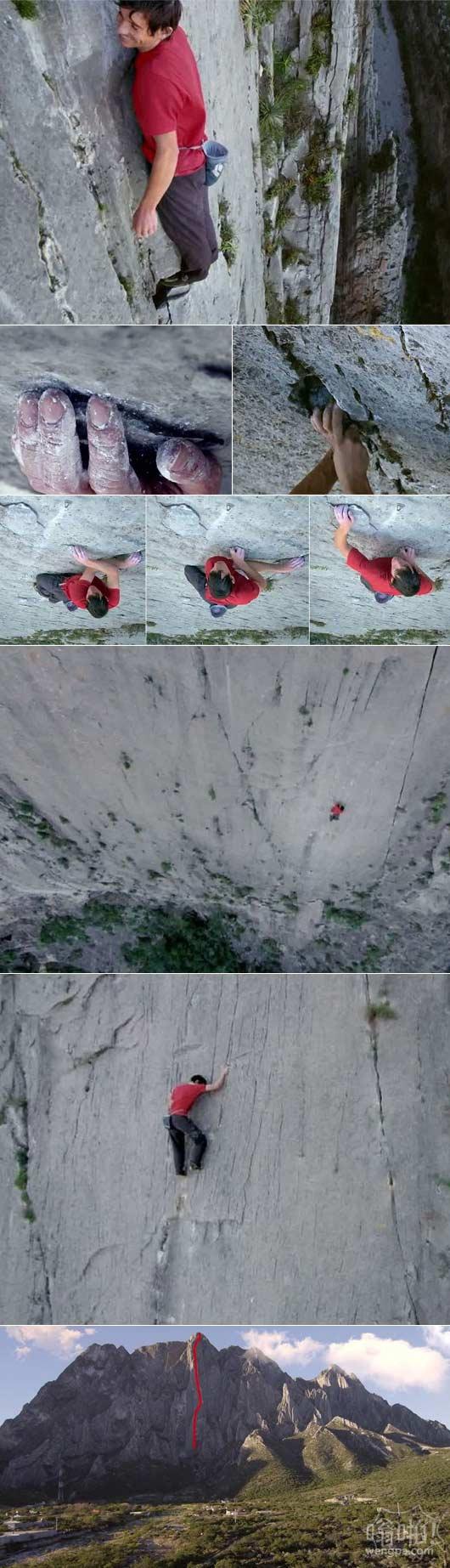 男子只用攀岩鞋和一袋粉笔灰尘徒手征服墨西哥2500英尺悬崖
