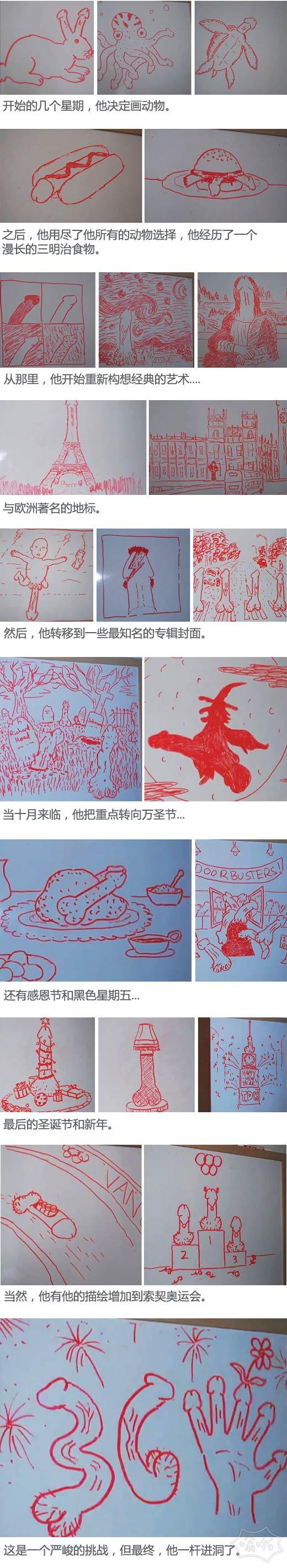 """一些人对妻子的白板用一年时间每天画一个""""jiji"""""""