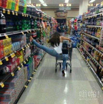 女汉子逛超市的状态