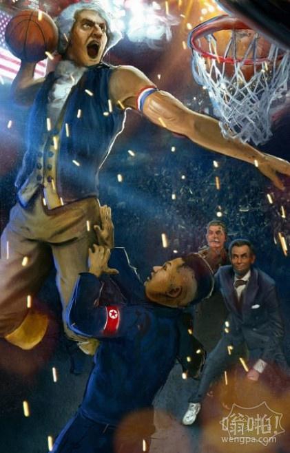 本周史诗图片——华盛顿扣篮金正恩而林肯总统和斯大林观看