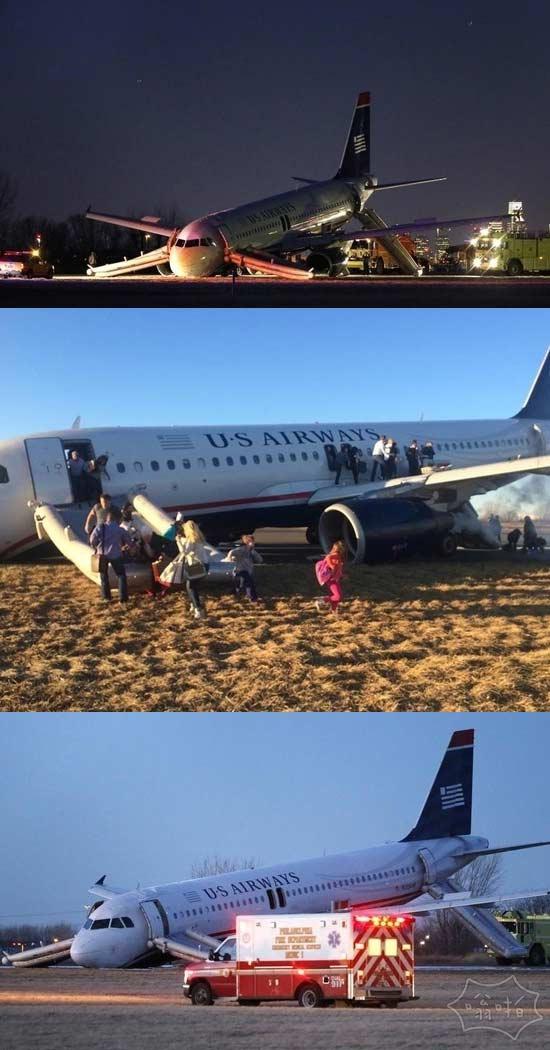 费城机场飞机起落架出故障滑出跑道,乘客安全