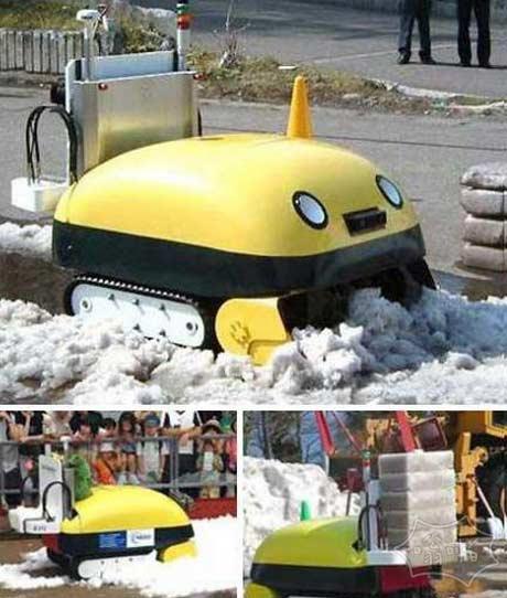 日本的超萌的自动铲雪机