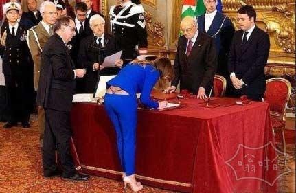 意大利女部长签字中