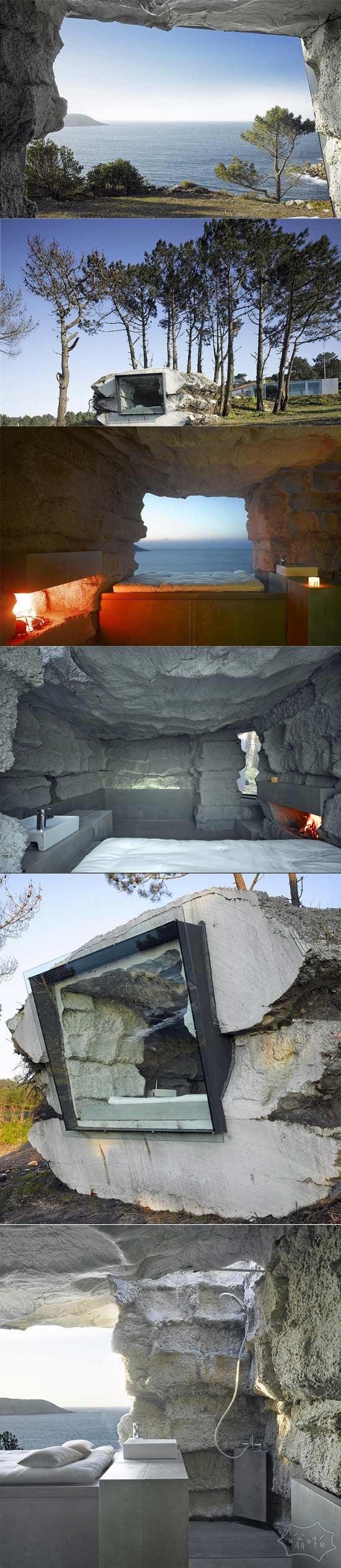 我希望床上不是硬的岩石!西班牙度假屋,里面是一个巨大的人造博尔德