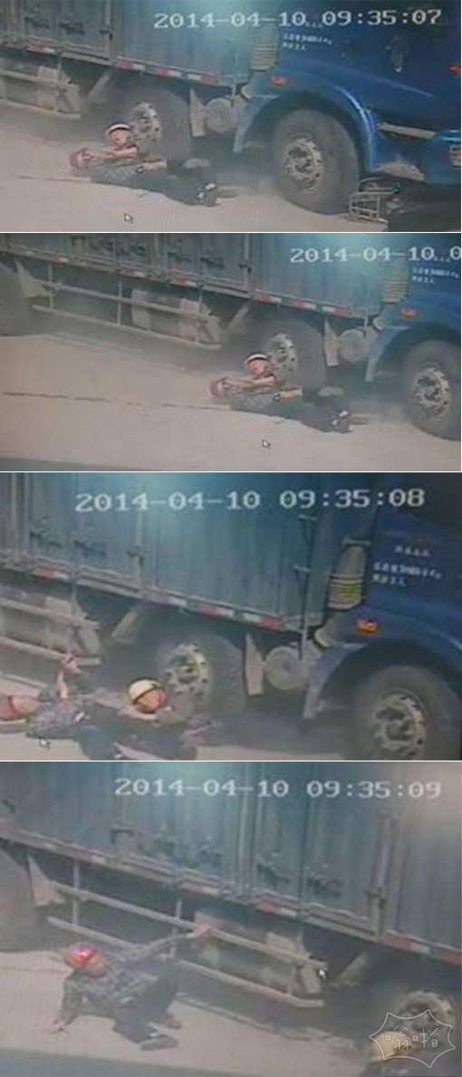 父亲牺牲自己来拯救他的儿子,车祸时他把他的儿子推开,不久卡车就从他身上碾过