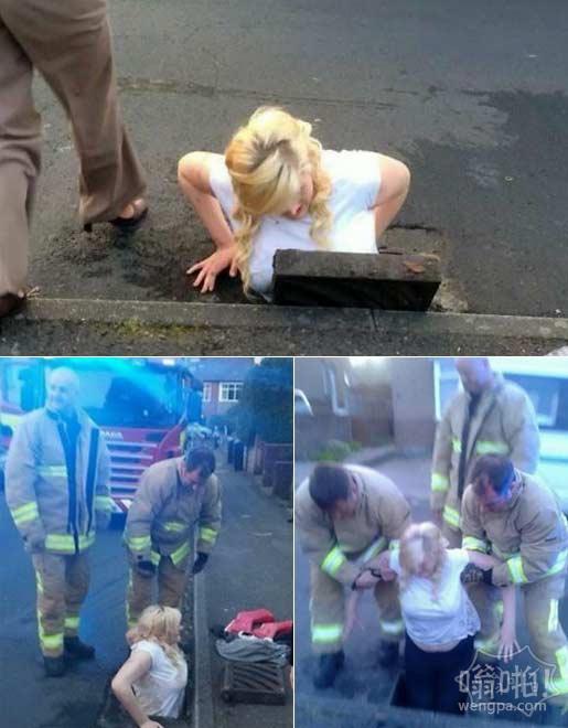 十几岁的女孩挪开下水道金属盖试图找到她的iPhone,她的脚被卡在下水道