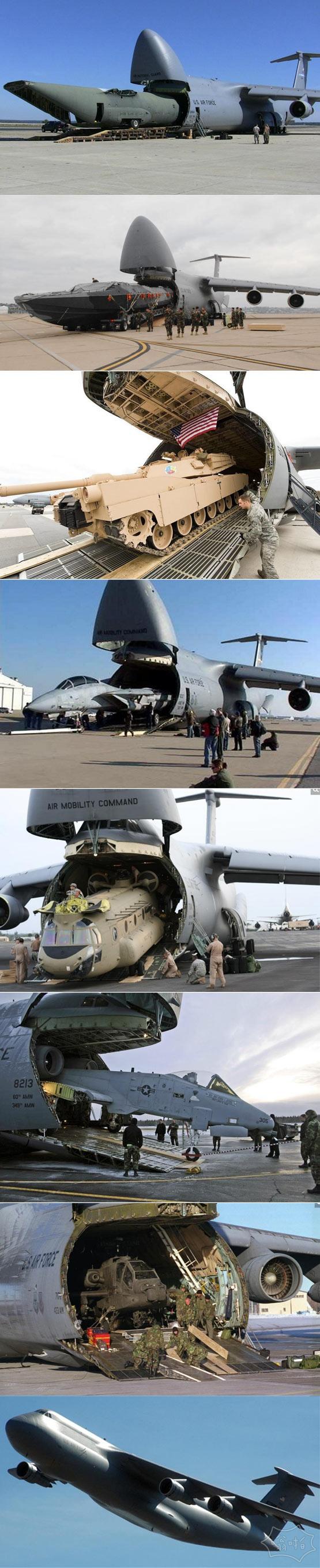 见识下美军C-5(银河)运输机的强大吞吐能力