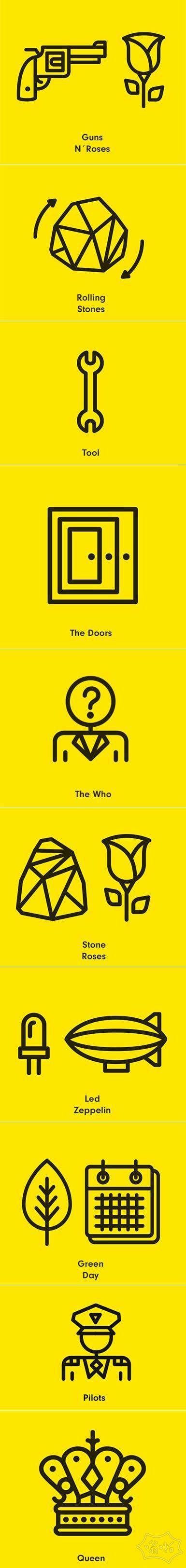出名的摇滚乐队icon图标设计,你知道几个?