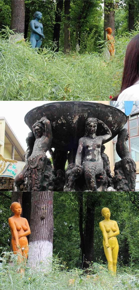 重庆大学城摆放裸女雕塑惹争议