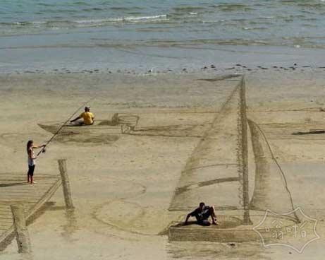 新西兰的沙滩上很酷的3d艺术