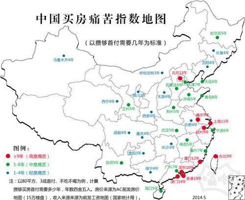 中国买房痛苦指数地图