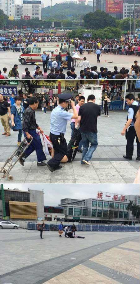 广州火车站两男子手持半米砍刀砍人 6名过路旅客被砍伤 现场图(视频)
