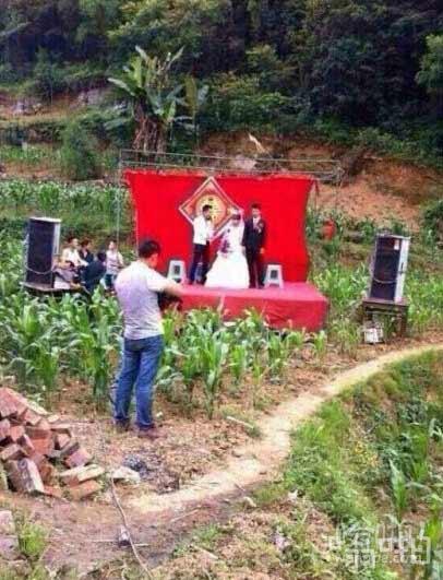 新娘要求新郎婚礼仪式要在户外,简约,复古乡村田园气息,不要假花枯草~希望参与的宾客有一种穿越时代陈杂的赶脚~花费精简……于是……嗯