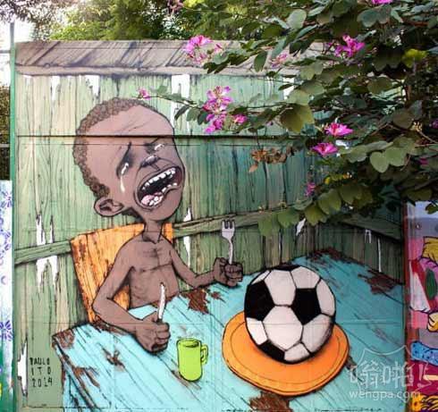 """艺术家保罗伊藤绘壁画,表达了""""世界杯""""对于大多数巴西人的感觉…"""