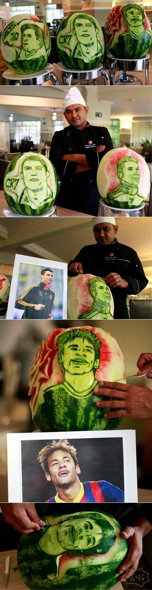 世界杯将近,巴西圣保牛人用西瓜雕刻足球明星像,西瓜呈现了C罗、梅西和内马尔的头像。