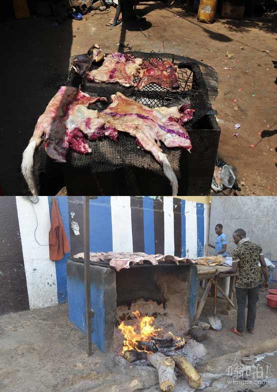 非洲尼日尔原生态烧烤摊