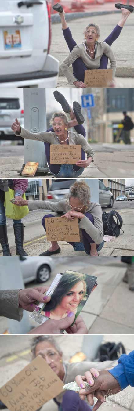 60岁前《花花公子》女模街头卖艺乞讨