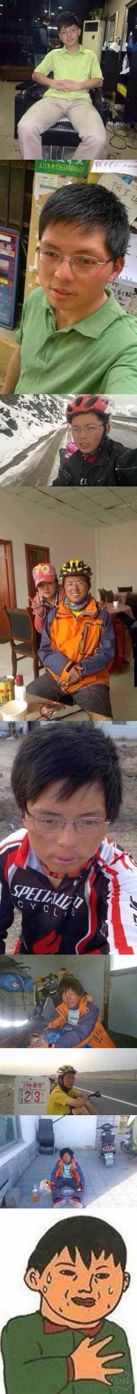 帅哥骑行西藏的照片,不忍直视!