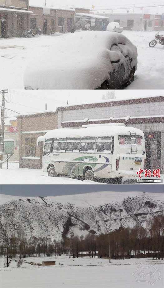 甘肃河西走廊山丹县入夏后首飘大雪 积雪达10厘米