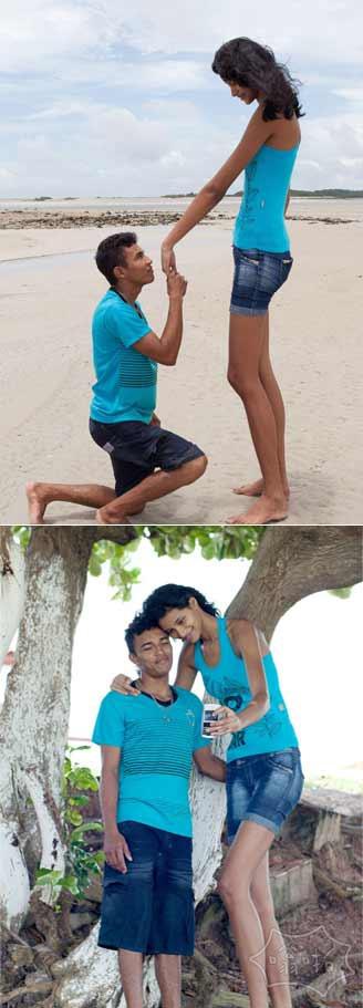 巴西17岁身高2米少女被1.6米男子求婚