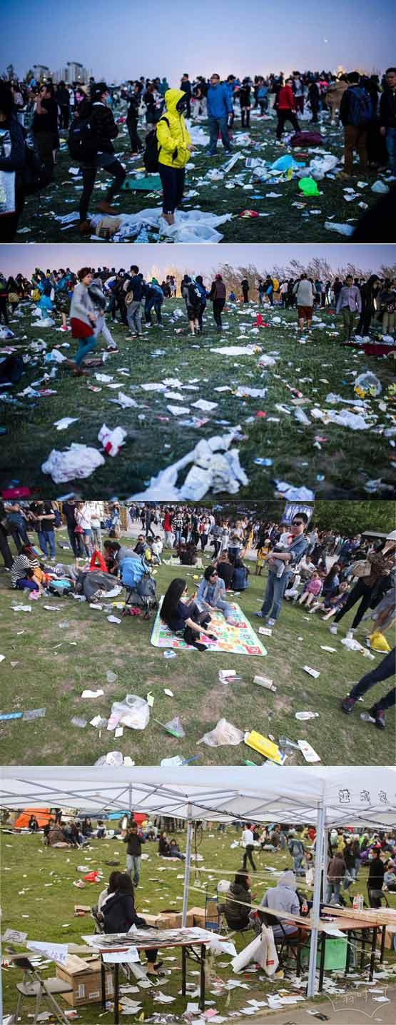 北京8级大风吹停草莓音乐节 结束后遍地垃圾