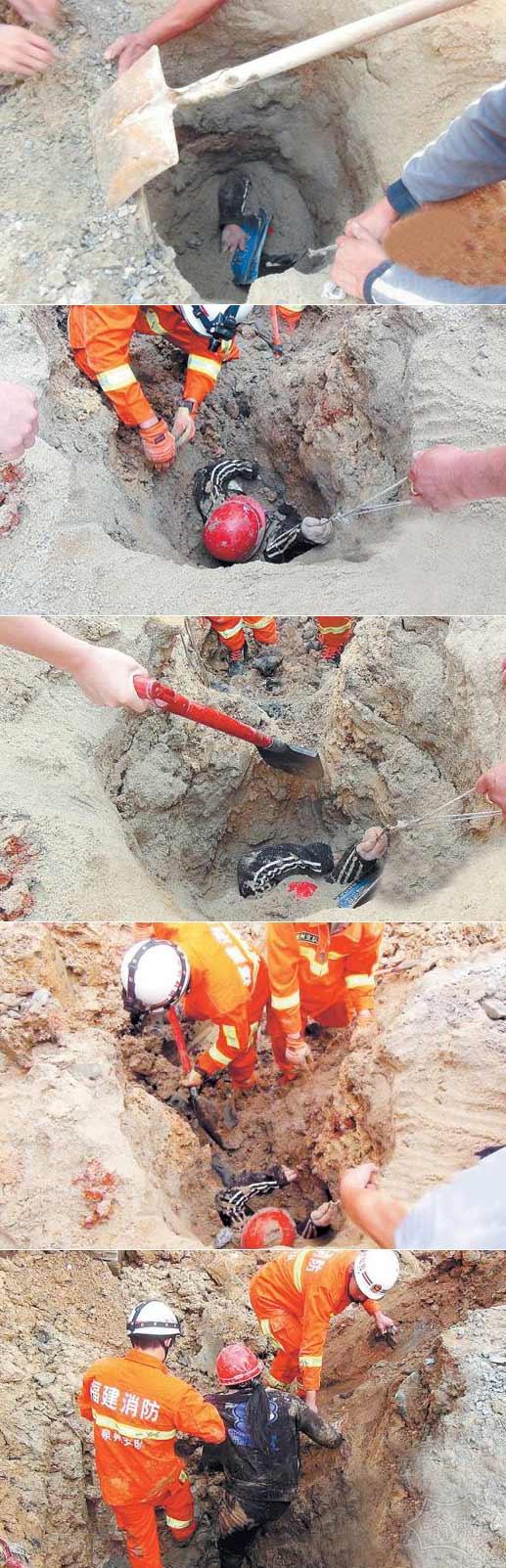 活埋…但中国女人救了因为她的安全帽有一些空间,让她呼吸空气