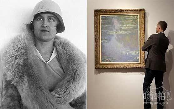 莫奈油画睡莲挂在女继承人贝勒克拉克的餐厅八十年 拍卖售价为2400万美元