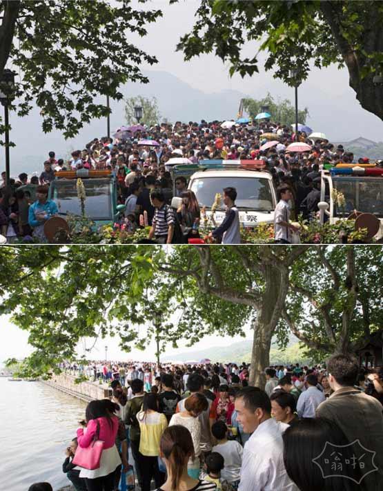 五一只见人头不见断桥:杭州西湖游人爆棚