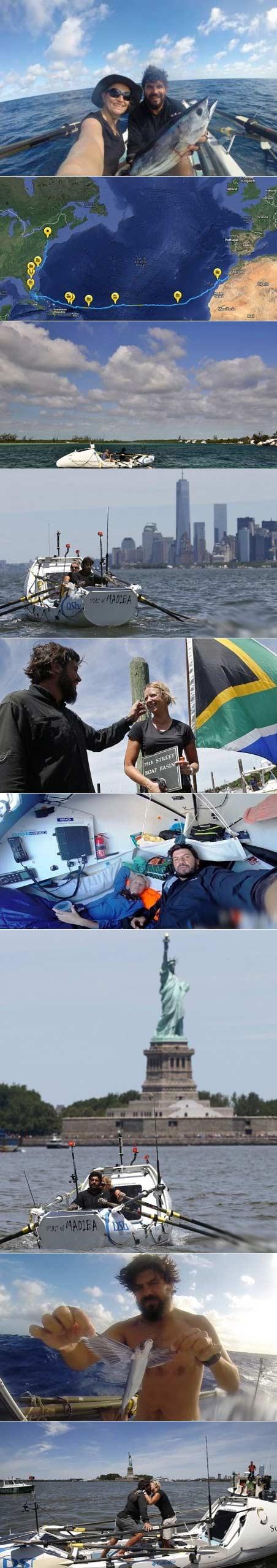 南非小伙划着小船到纽约去!用时153天