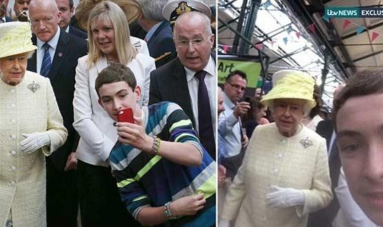 英国女王遇小伙蹭合影自拍!