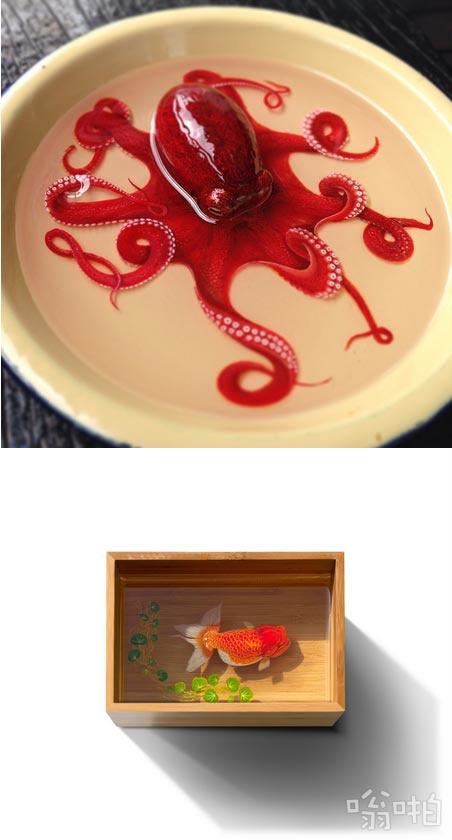 这逼真的章鱼是树脂和丙烯酸画的